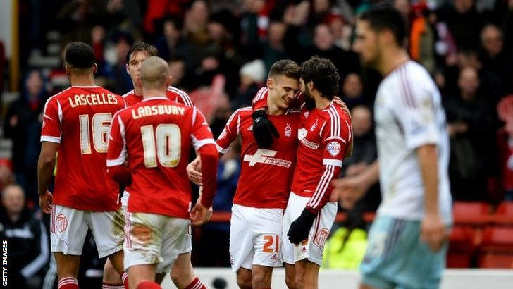 Jamie Paterson celebrates for Forest