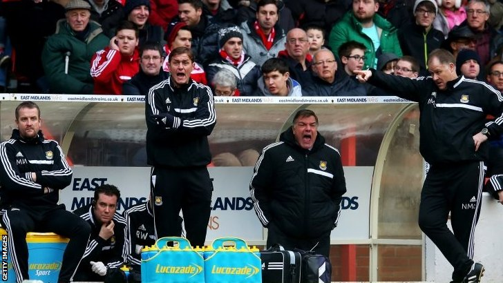 West Ham bench in the match against Nottingham Forest