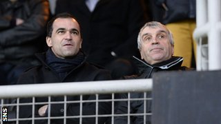 Everton manager Roberto Martinez and chief scout Kevin Reeves