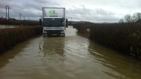 Lorry stuck in flood water