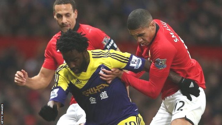 Wilfried Bony holds off Rio Ferdinand and Chris Smaling