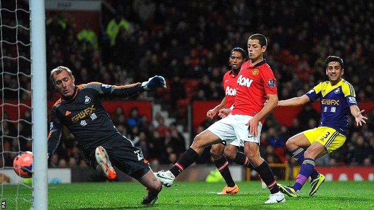 javier Hernandez scores for Manchester United