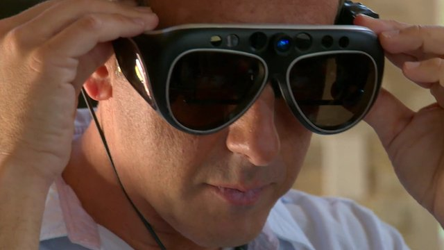 Richard Taylor tries on 3D augmented reality glasses