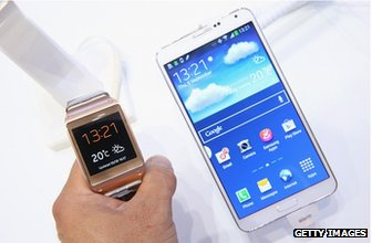 Samsung watch and phone