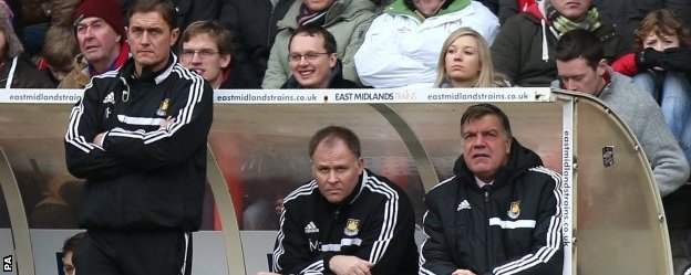 Sam Allardyce looks on as West Ham lose to Nottingham Forest