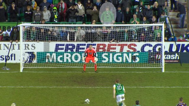 Hibs fan disappears after goal joy