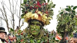 The Holly Man outside the Globe Theatre in London