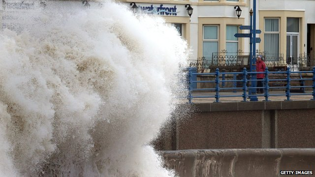 Waves break on Porthcawl seafront