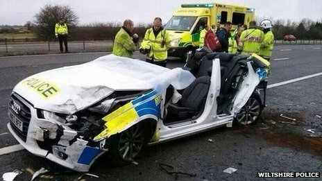 The damaged police car