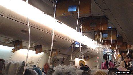 Oxygen masks were released ahead of the emergency landing