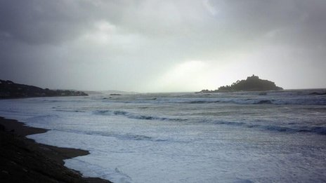 Stormy conditions at Marazion