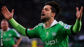 Diego of Wolfsburg celebrates scoring a goal during the Bundesliga match between Borussia Moenchengladbach and VfL Wolfsburg held at Borussia-Park on December.