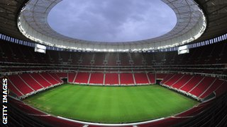 A general view of the Mane Garrincha Stadium venue for the 2014 FIFA World Cup Brazil on December 9, 2013 in Brasilia, Brazil.