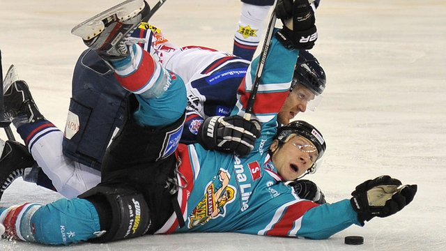 Dustin Whitecotton of the Belfast Giants in action against the Dundee Stars