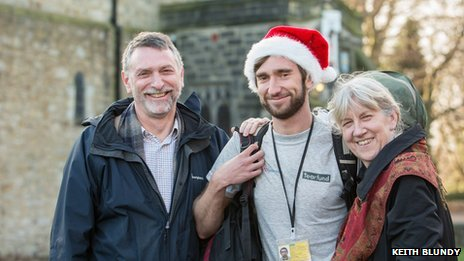 Ben Bartlett with his father Revd Canon Dr Alan Bartlett and mother Helen