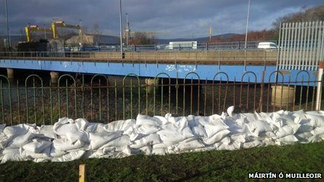 Wall of sandbags in Sydenham, east Belfast