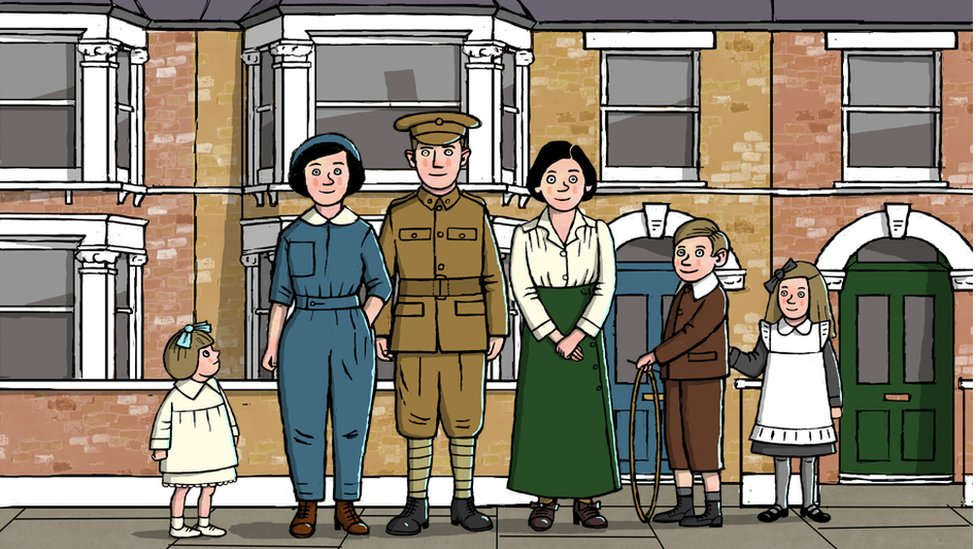 Illustration of a typical house and family during World War One with Mother, Father, Mother's Sister and three children standing outside their home