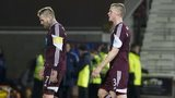 Hearts players following the defeat by Partick Thistle