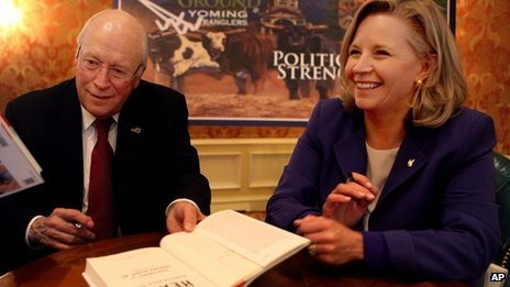"""Former Vice President Dick Cheney smiles at his daughter, Liz, as they talk about his new book, """"Heart: An American Medical Odyssey,"""" at Little America Hotel and Resort in Cheyenne, Wyoming 13 December 2013"""