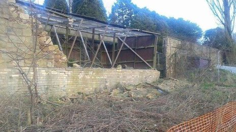 Collapsed wall at Brockswood Animal Sanctuary