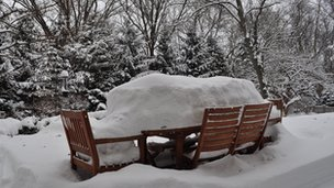 Garden furniture under snow in Illinois