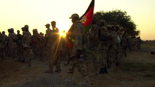 South Sudanese troops with flag (Jan 2014)