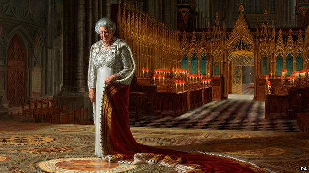 The Coronation Theatre, Westminster Abbey: A Portrait of Her Majesty Queen Elizabeth II, 2012, by Ralph Heimans (detail)