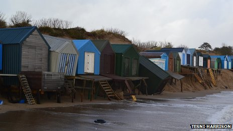 Damage to beach huts in Abersoch