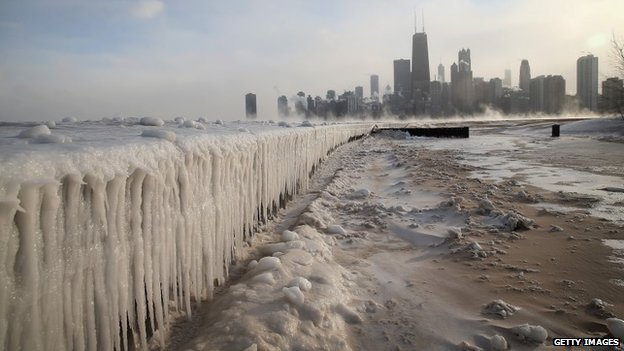 Ice builds up along Lake Michigan in Chicago, Illinois, on 6 January 2014