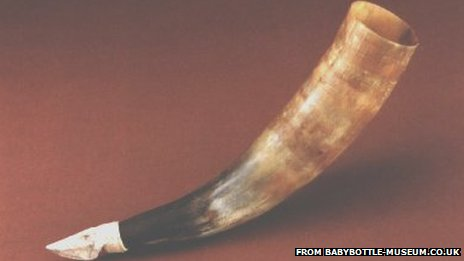 A hollowed out animal horn