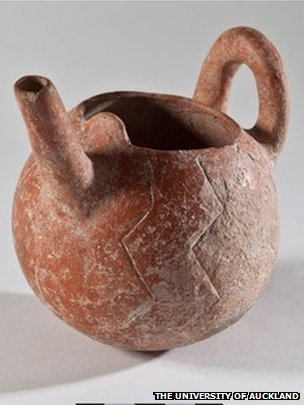 Clay pot with narrow spout and zig-zag design