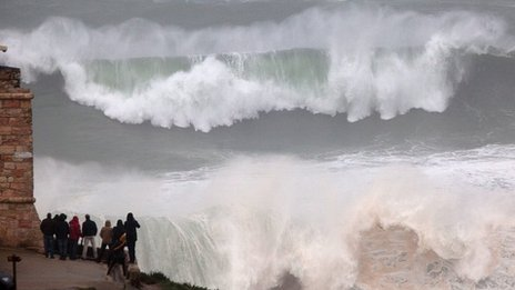 Storm off coast of Nazare, Portugal. 6 Jan 2014