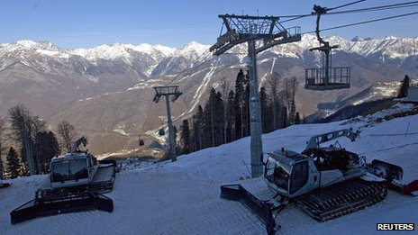 Piste maintenance equipment is seen on a slope near the resort of Krasnaya Polyana, near Sochi