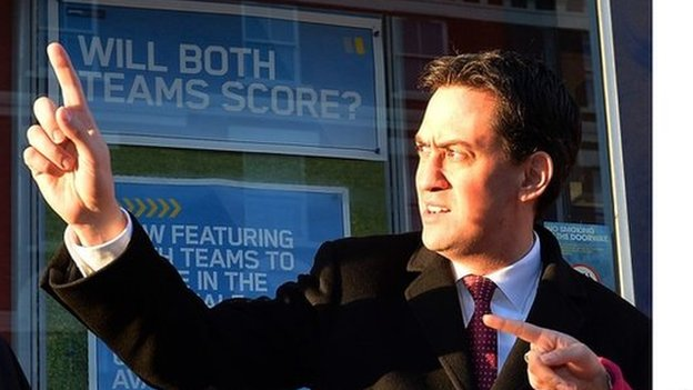 Ed Miliband outside a bookmakers in north London last month