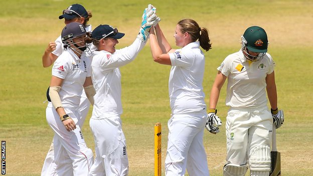 Anya Shrubsole celebrates the wicket of Elyse Villani of Australia A