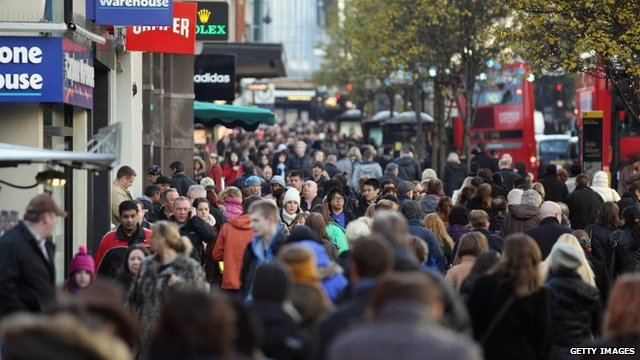 Christmas shoppers in London