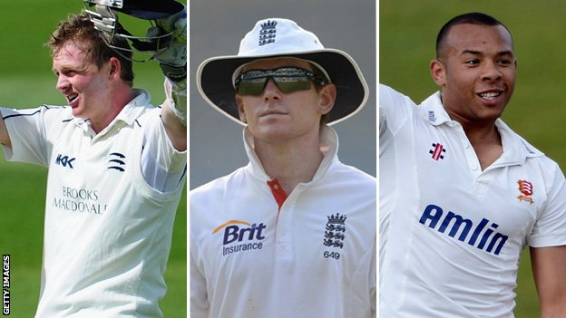 Sam Robson, Eoin Morgan and Tymal Mills