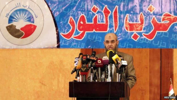 Younes Makhyoun, head of the Salafist Nour Party at a news conference for the party in Cairo