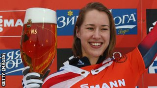 Lizzy Yarnold celebrates her World Cup win in Winterberg