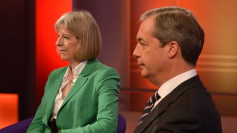 Theresa May and Nigel Farage