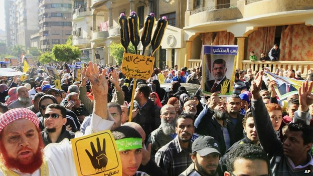 Supporters of the Muslim Brotherhood protest in Cairo