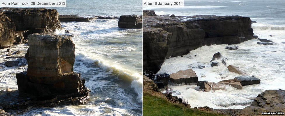 Pom Pom rock before and after storm