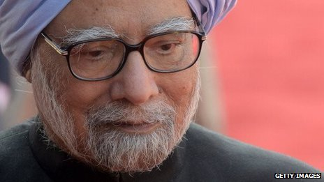 Indian Prime Minister Manmohan Singh at the Presidential Palace on January 2, 2014.