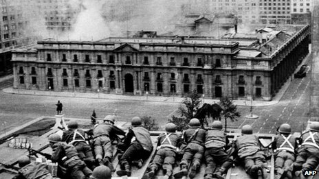 Palacio de la Moneda during the 1973 coup, Santiago