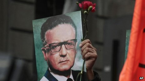 A man holds a Salvador Allende picture