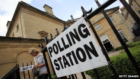 A polling station in Bath during the 2011 local elections