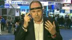 Rory Cellan-Jones displays some wearable technology at the CES tech show
