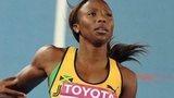 Sherone Simpson racing for Jamaica