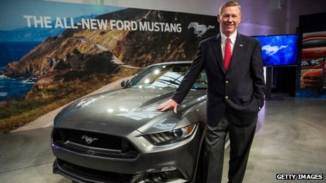 Alan Mulally standing next a Ford car
