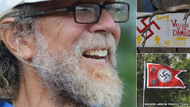 Craig Cobb; a sign he put up (top right); and one of several flags he flew outside his home